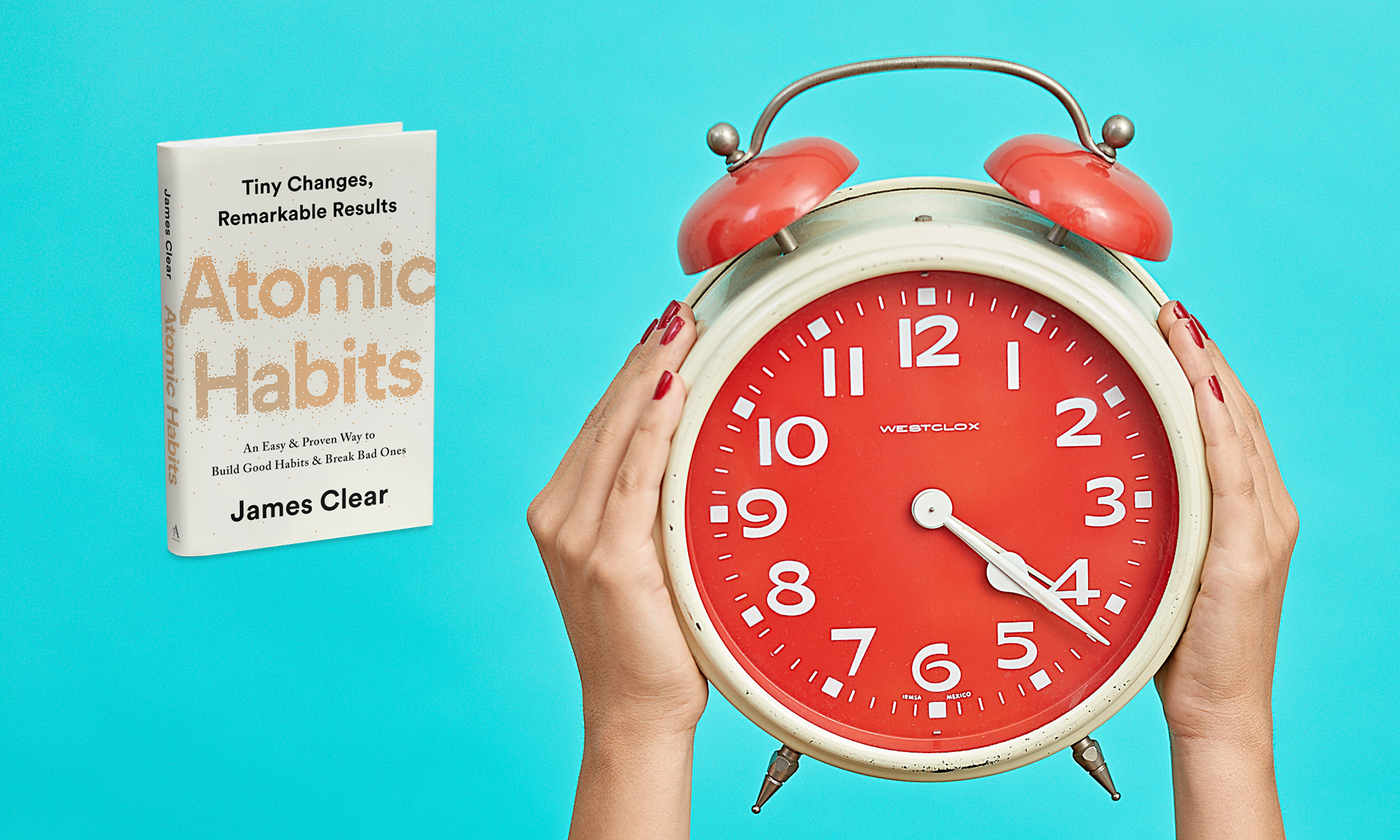 Atomic Habits book review image with clock