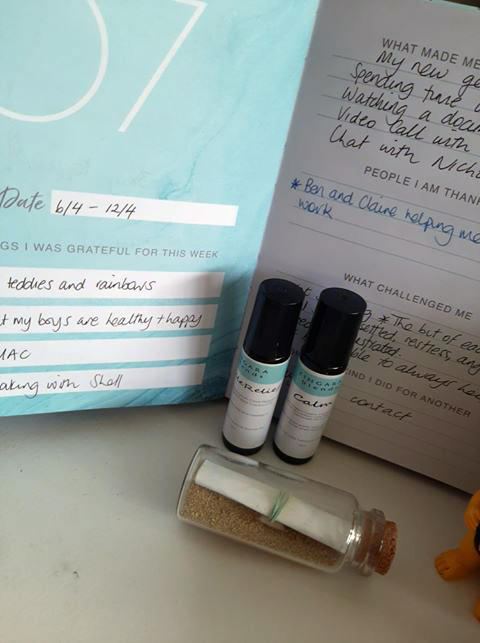 Mental wellbeing journal and oils